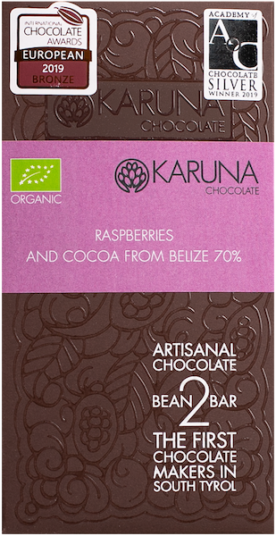 Schokolade 70 % mit Himbeere Bio