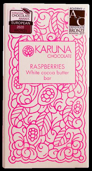 Weisse Schokolade mit Himbeeren